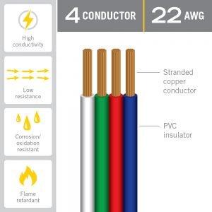 4C RGB LED 22AWG Flat Ribbon Cable