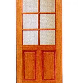 Mahogany 2 Panel with 6 Lites Basic Entry Door
