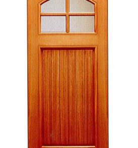 Mahogany Craftsman 1 Panel with 4 Lites Basic Entry Door