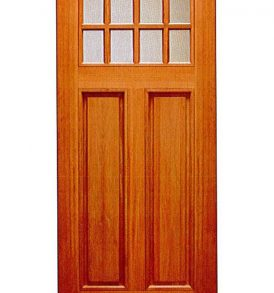 Mahogany Craftsman 2 Panels with 8 Lites Basic Entry Door