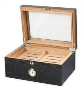 Milano Glasstop Black Oak Humidor