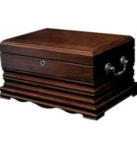 The Tradition - 125 Cigar Solid Wood Antique Humidor Golden Cherry Finish