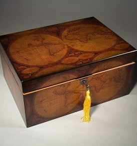 Old World Antique Map Cigar Humidor.