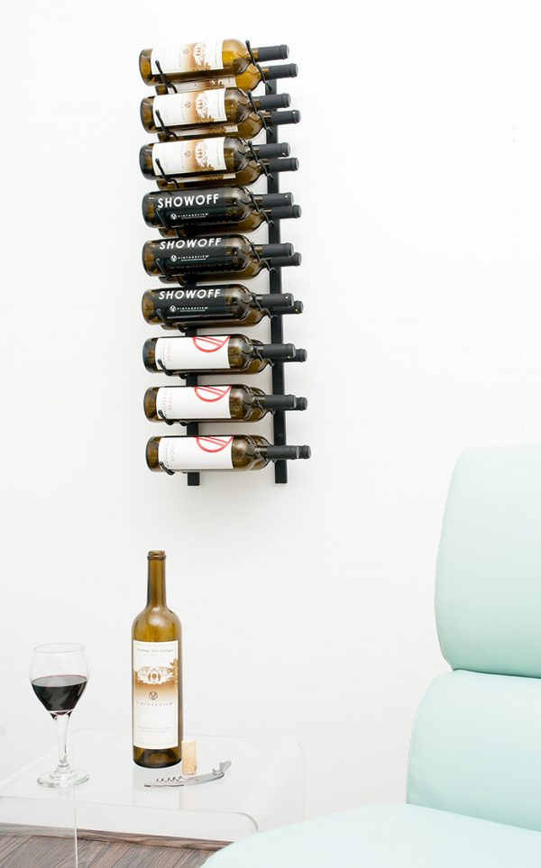 3' Wall Mount Double Deep. This steel wall-mounted wine rack holds nine bottles and can be stacked to reach any collection capacity need.