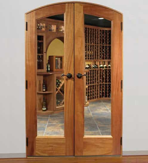 Classic Full Glass Arched French Wine Cellar Door