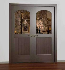 Classic Half Glass Square Arched French Wine Cellar Door