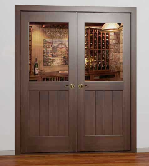 Bon Classic Half Glass Square French Wine Cellar Door