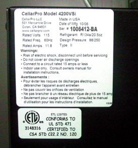 CellarPro 4200VSi 220V/50Hz Cooling Unit #1512