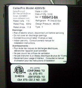 CellarPro 4200VSi 220V/50Hz Cooling Unit #1512