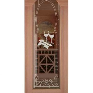 Barolo Etched Arched Glass Door