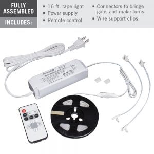 RibbonFlex Home Dim-to-Warm LED Tape Light Kit with Remote – 16 ft. (5m)