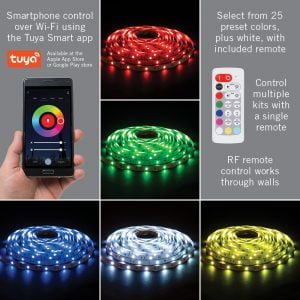 RibbonFlex Home 16ft. RGB+W Smart LED Tape Light Kit